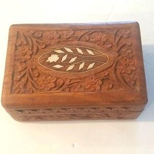 HAND CARVED Bone Inlaid Trinket Jewelry Box